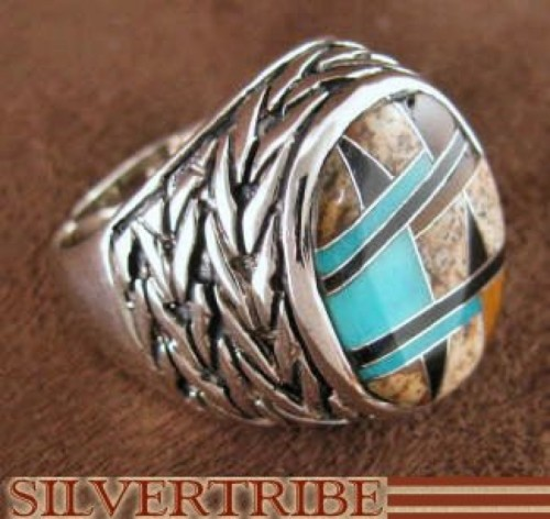 Silver Turquoise And Multicolor Inlay Ring Size 6-1/2 DS43759