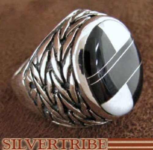 Silver Mother Of Pearl And Black Jade Inlay Ring Size 6-3/4 DS43768