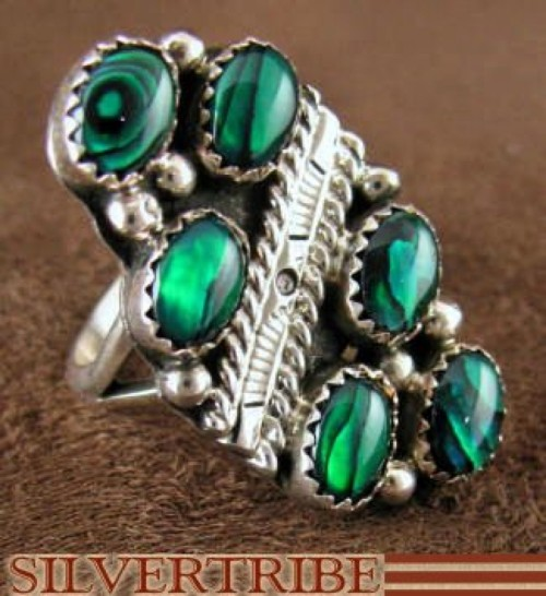 Navajo Indian Green Paua Shell Sterling Silver Ring Size 6-1/2 DS44362