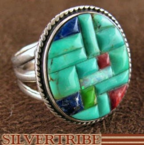 Multicolor Inlay Authentic Sterling Silver Ring Size 6-1/4 DS43948