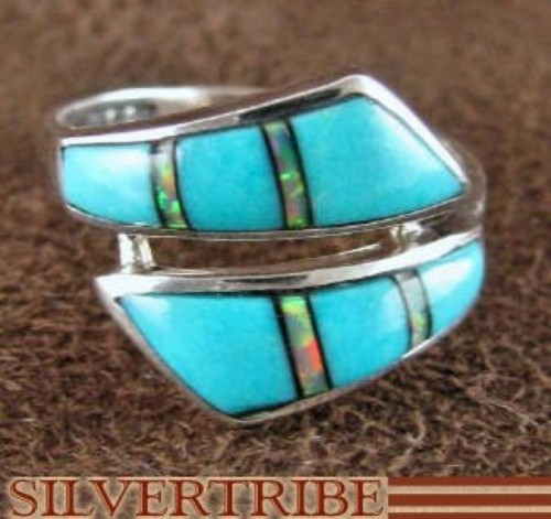 Turquoise And Opal Jewelry Sterling Silver Ring Size 5-1/2 RS44921