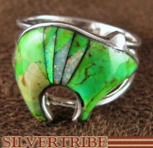 Sterling Silver Mojave Turquoise Opal Bear Ring Size 8-3/4 RS45109