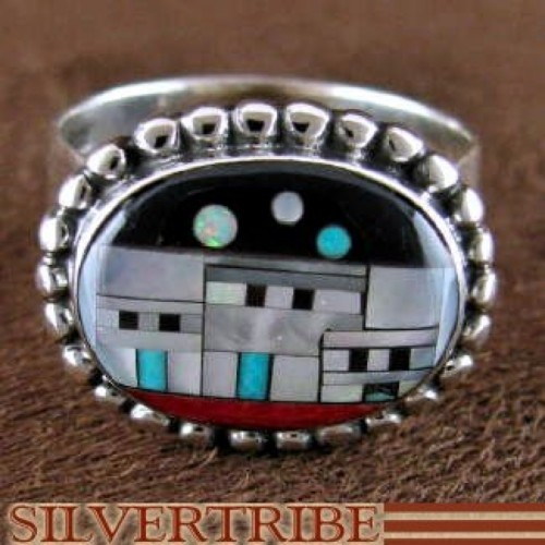 Multicolor Silver Native American Design Ring Size 8-1/2 RS46241