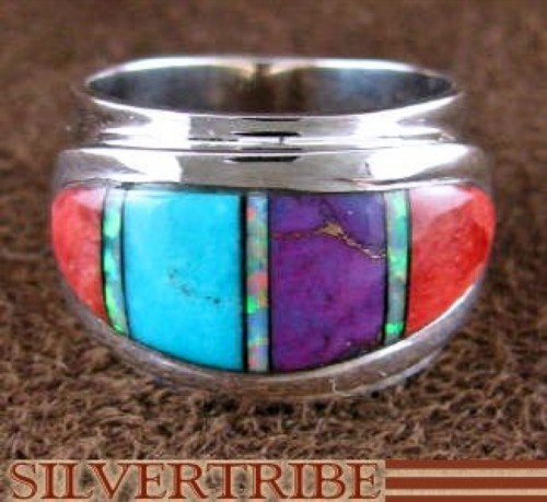 Opal Multicolor Inlay and Sterling Silver Ring Size 6-1/4 RS46935