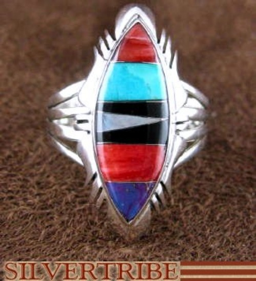Multicolor Inlay Sterling Silver Jewelry Ring Size 8-3/4 DS46949