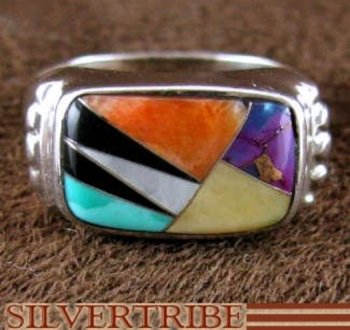 Genuine Sterling Silver And Multicolor Inlay Ring Size 6-3/4 HS47188