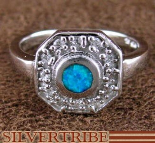 Blue Opal Inlay And Genuine Sterling Silver Ring Size 6 DS51651