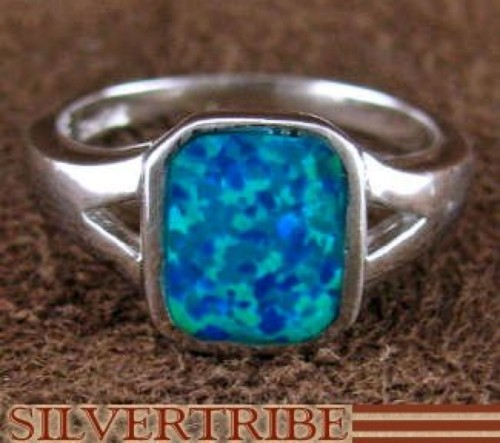 Sterling Silver And Blue Opal Inlay Ring Size 7-3/4 DS51674