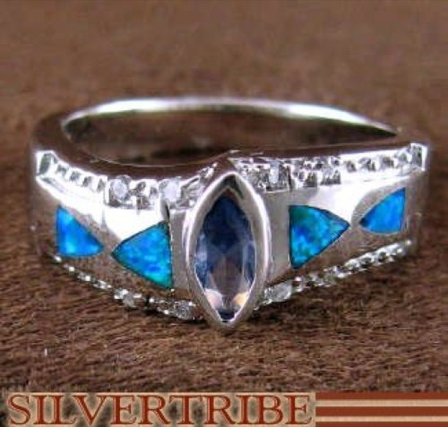 Tanzanite And Blue Opal Inlay Silver Ring Size 6-3/4 RS51301