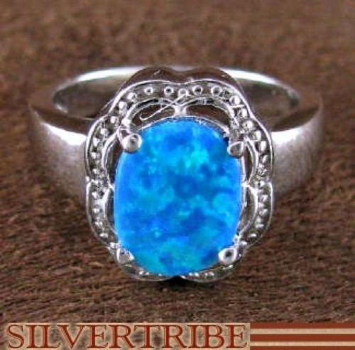 Blue Opal Authentic Silver Ring Size 6-1/4 RS51344