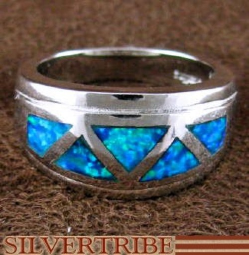 Sterling Silver Blue Opal Inlay Ring Size 6-3/4 Jewelry AS50064