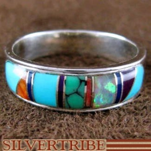 Southwest Multicolor Genuine Sterling Silver Ring Size 6-3/4 RS52005