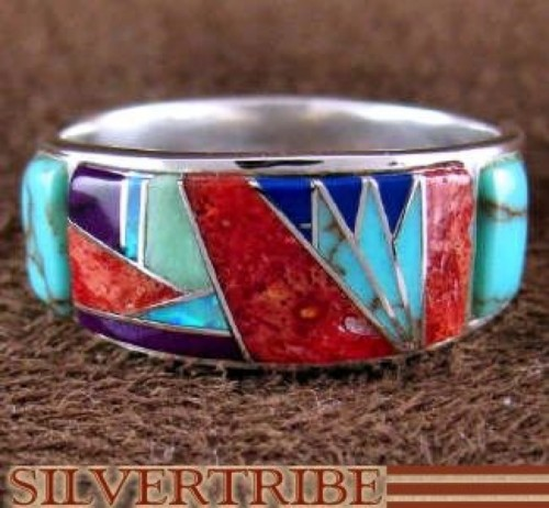 Sterling Silver Multicolor Inlay Ring Size 5-1/2 AS53841