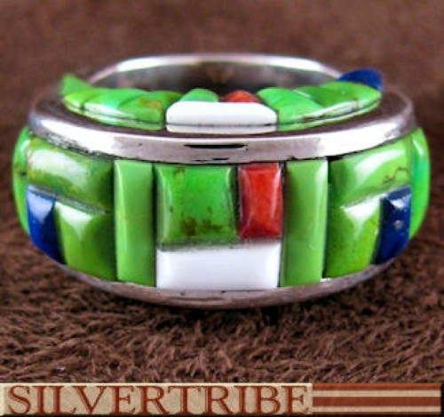 Southwestern Multicolor Inlay Sterling Silver Ring Size 5-3/4 DS55123