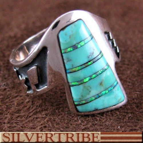 Southwest Turquoise Opal Inlay Silver Ring Size 6-1/4 GS56185
