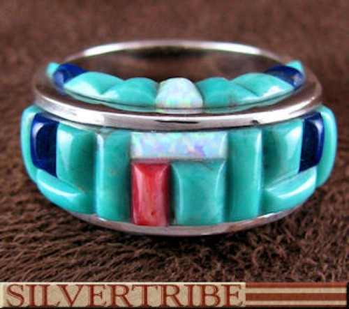 Southwest Multicolor Inlay Silver Ring Size 8-3/4 GS56222
