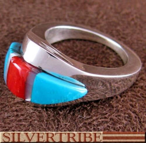 Sterling Silver And Multicolor Inlay Ring Size 5-1/4 DS54356