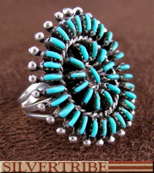 Southwest Turquoise Jewelry Sterling Silver Ring Size 8-1/2 DS54588