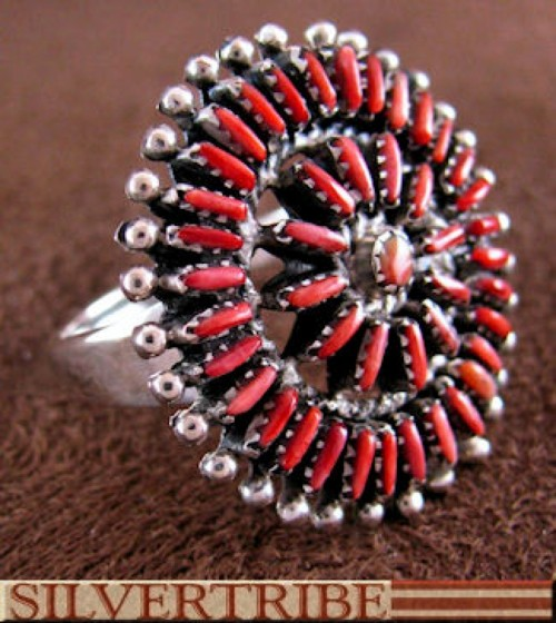 Southwest Sterling Silver And Red Oyster Shell Ring Size 8-1/2 AS54535
