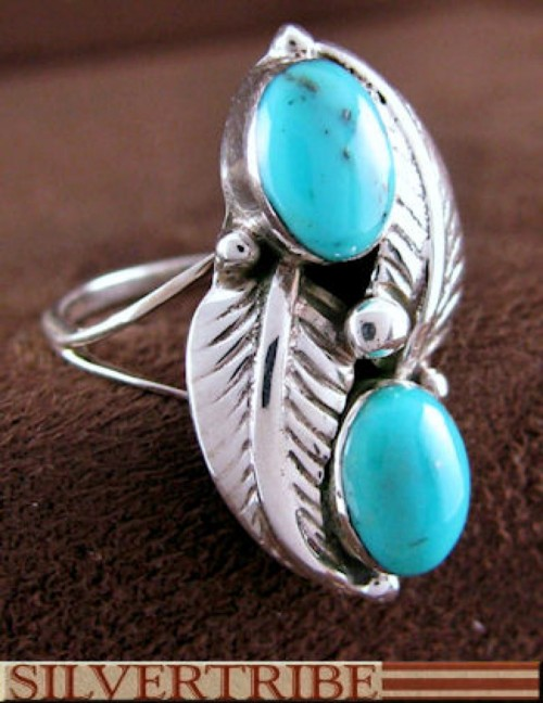 Genuine Sterling Silver And Turquoise Ring Size 6-1/4 HS55057