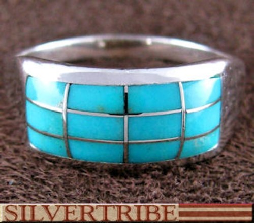 Turquoise Inlay And Genuine Sterling Silver Ring Size 6-3/4 DS56236