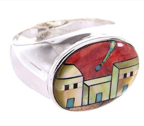 Native American Pueblo Or Village Design Ring Size 12-1/2 AW67226