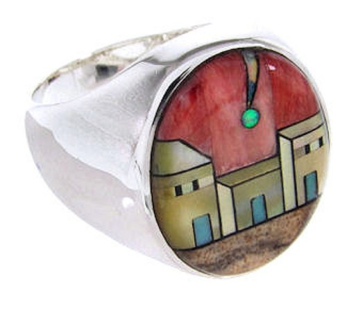 Native American Design Jewelry Multicolor Ring Size 11-1/4 YS67061