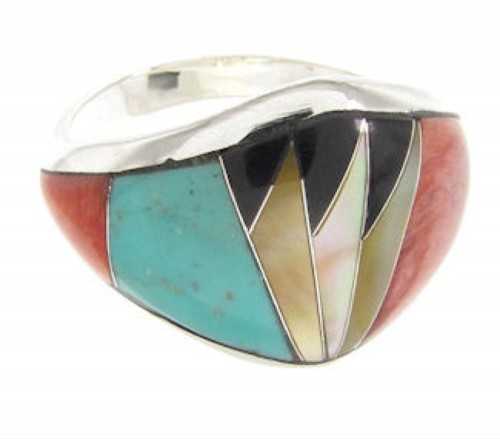 Southwestern Multicolor Inlay Jewelry Ring Size 7-3/4 YS58411