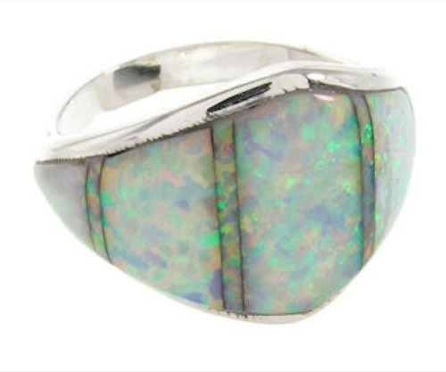 Southwest Sterling Silver Opal Inlay Jewelry Ring Size 6-3/4 EX22487