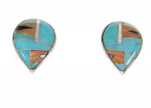 Sterling Silver Turquoise Multicolor Inlay Earrings PS57363