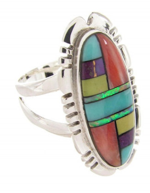 Inlay Multicolor Southwest Ring Size 6-3/4 XS57173