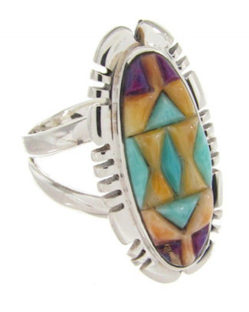 Multicolor Sterling Silver Inlay Ring Size 7-3/4 XS57236