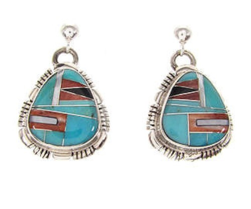 Sterling Silver And Multicolor Inlay Southwest Earrings QS57699