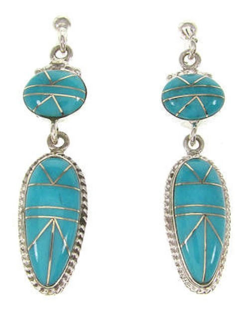 Turquoise Inlay Dangle Earrings Sterling Silver Jewelry IS59335