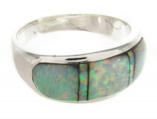 Southwestern Opal Inlay Silver Ring Size 7-3/4 TX42397