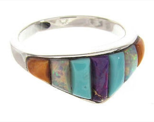 Silver Jewelry Southwestern Multicolor Ring Size 6-1/2 XS57833