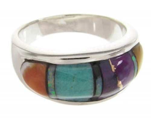 Sterling Silver And Multicolor Inlay Ring Size 5-3/4 HS58621