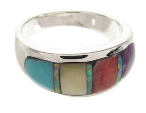 Sterling Silver Multicolor Ring Southwest Jewelry Size 6-3/4 IS58301
