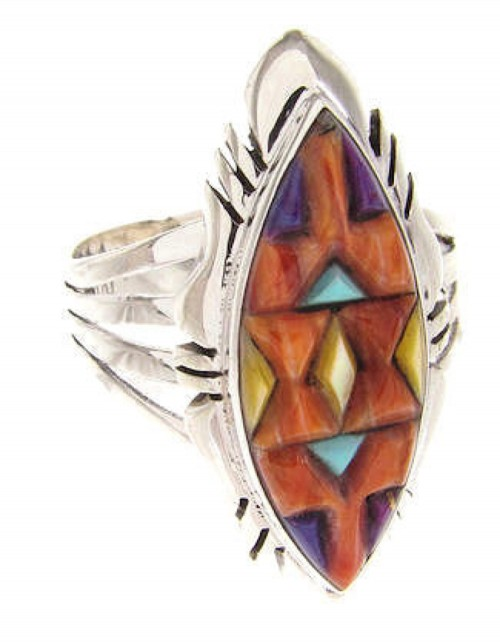 Multicolor And Genuine Sterling Silver Ring Size 8-3/4 GS58760