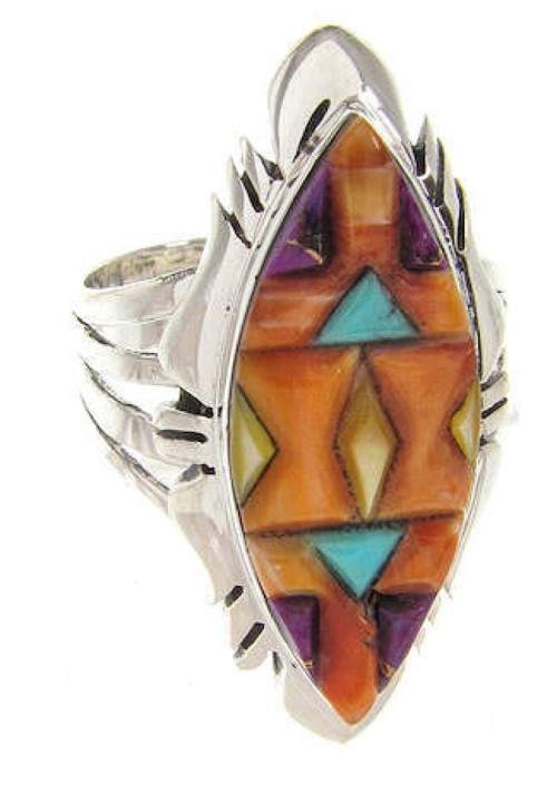 Multicolor Inlay Southwestern Jewelry Ring Size 5-3/4 GS58788