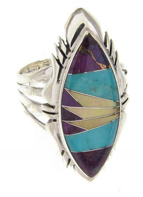 Southwest Jewelry Silver Multicolor Inlay Ring Size 6-3/4 GS58926