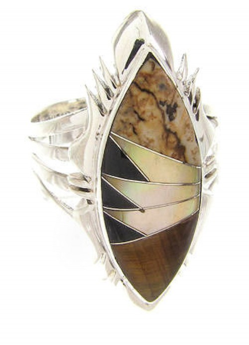 Tiger Eye Multicolor Inlay Jewelry Ring Size 6-3/4 GS59156