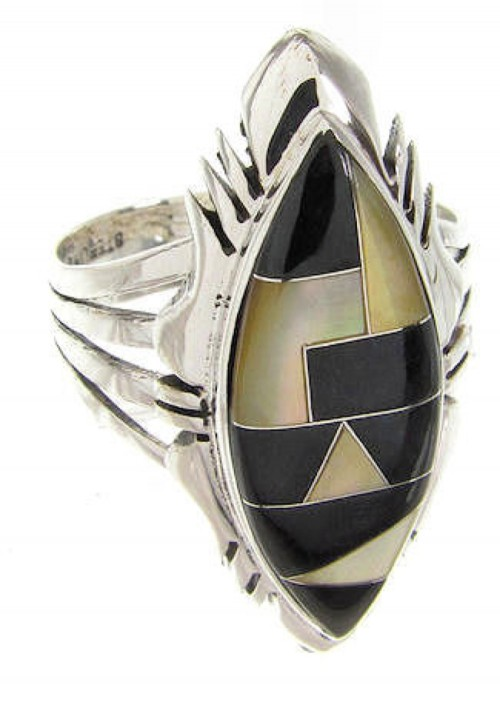 Yellow Mother Of Pearl Black Jade Inlay Ring Size 7-1/2 GS59213