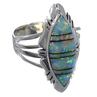 Southwest Opal Inlay Silver Ring Jewelry Size 7-3/4 GS58717