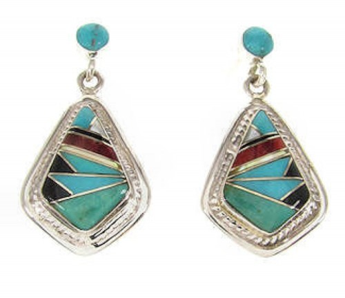 Multicolor Inlay Post Earrings Sterling Silver Jewelry IS59001