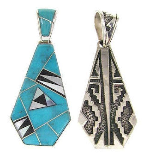 Reversible Multicolor Inlay Pendant Silver Jewelry IS58633