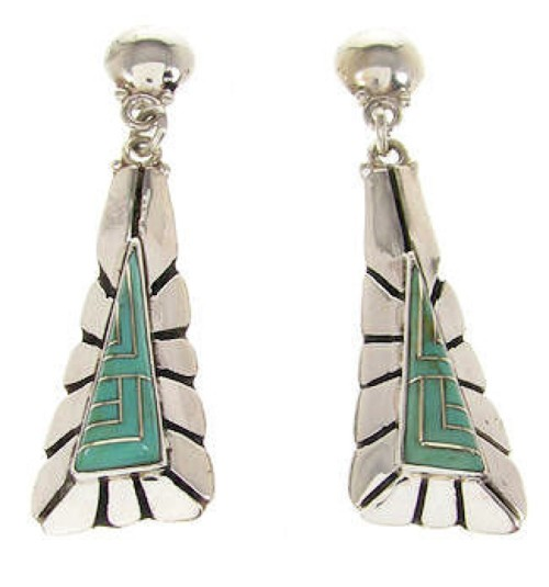 Southwest Sterling Silver Turquoise Dangle Earrings OS58561