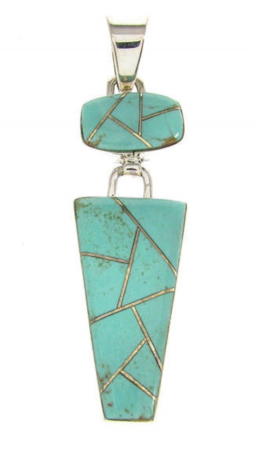 Southwest Genuine Sterling Silver And Turquoise Inlay Pendant OS58419