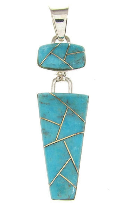 Southwestern Turquoise Inlay Jewelry Silver Pendant OS58425