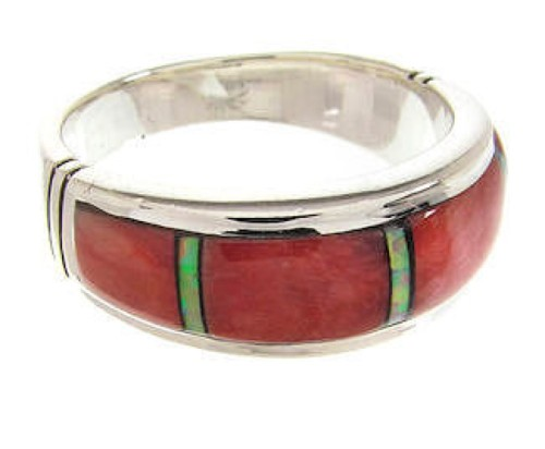 Red Oyster Shell Opal Sterling Silver Ring Size 5-3/4  PS57901
